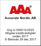 Accurate Nordic har högsta kreditvänlighet (AAA) sedan 2017