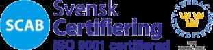 Accurate Nordic är certifierat enligt SCAB - Svensk Certifiering ISO 900
